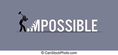 possible., destruir, hombre, palabra, imposible