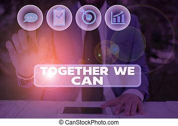 possible, nous, showcasing, tout, une, unité, group., ensemble, photo, projection, écriture, main, puissant, marques, conceptuel, can., boîte, business