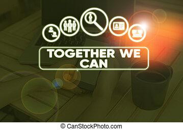 possible, nous, tout, une, group., unité, ensemble, business, photo, projection, écriture, main, puissant, marques, conceptuel, can., boîte, texte