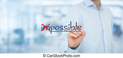 Possible or impossible? Businessman change negative think to...