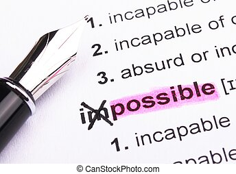 possible or impossible concept with word showing motivation ...