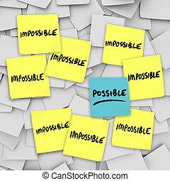 possible, vs, impossibilité, notes collantes, fond