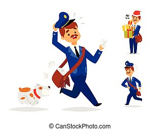 postás, futár, csomag, betű, envelope., kiszolgáltat, hajózás, felszabadítás, vektor, hordozó, felad, profi, ember, emberek, foglalkozás