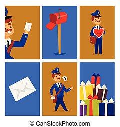 postás, futár, csomag, betű, envelope., kiszolgáltat, hajózás, posta felszabadítás, vektor, hordozó, kártya, profi, ember, emberek, foglalkozás