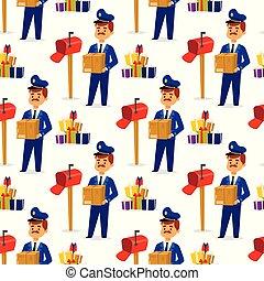 postás, futár, emberek, betű, csomag, kiszolgáltat, seamless, hajózás, posta felszabadítás, háttér., vektor, motívum, boríték, profi, ember, hordozó, foglalkozás