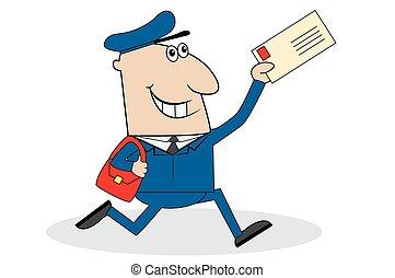 postás, levél, vidám, kiszolgáltat
