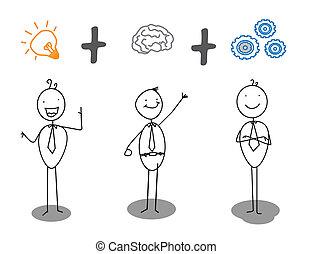 postęp, praca, mądry, idea