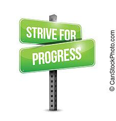 postęp, usiłować, projektować, ilustracja, znak