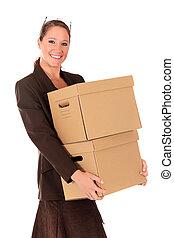 post, affärskvinna, kolli