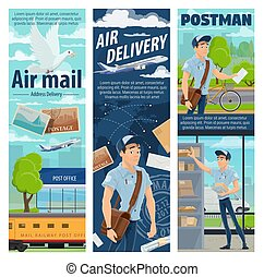 Post air mail delivery service, mailman profession - Air...