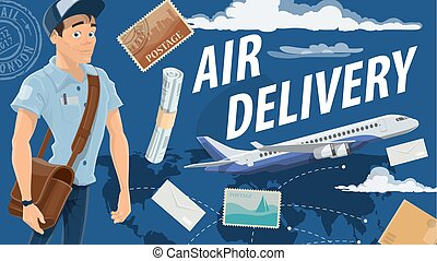 Post air mail service and vector mailman - Air mail delivery...