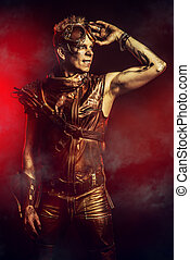 post-apocalypse - Portrait of a steampunk man with a...