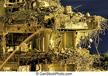 Post apocalypse - Ruins of an office building with rooms and...
