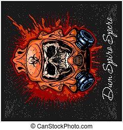 post-apocalypse sign with skull, grunge vintage design t shirts and quote - Dum spiro spero - Tranlation - I hope while I live
