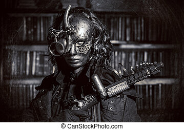 post-apocalypse - Steampunk man wearing mask with various...