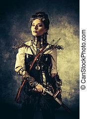 post-apocalypse - Portrait of a beautiful steampunk woman...