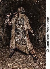 Post apocalyptic survivor in abandoned tunnel - Survived in...