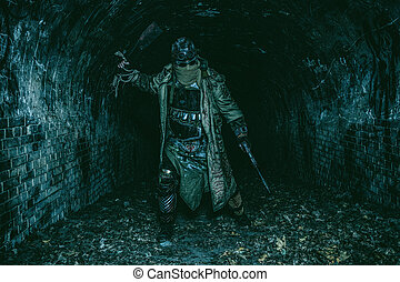 Post apocalyptic survivor in abandoned tunnel