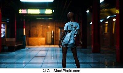 Post apocalyptic survivor in metro subway