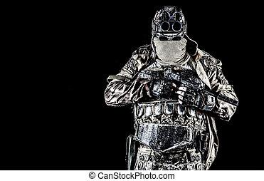 Post apocalyptic survivor with handmade pistol