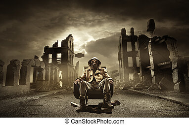 post, apocalyptisch, overlevende, in, gasmasker