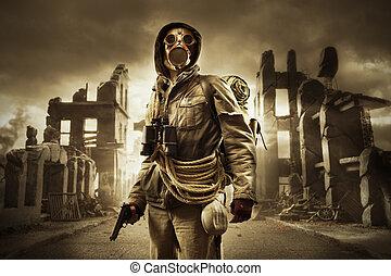 post, apokalyptisk, överlevande, in, gas maskera