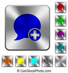 Post blog comment rounded square steel buttons