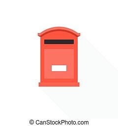 post box icon, flat design vector