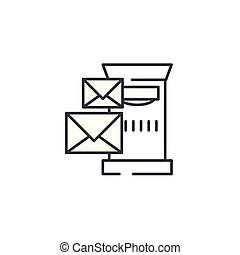 Post box linear icon concept. Post box line vector sign, symbol, illustration.