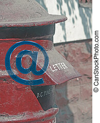 Post box, Mailbox, Email icon, at symbol Concept