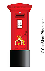 Post Box - A british Royal Mail post box isolated over a...