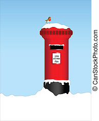 Post box with robin - A vector illustration of a traditional...