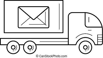 Post car vector line icon.