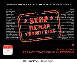 Post card stop human trafficking - Calendar events of July...