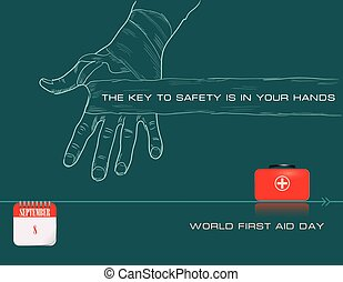 Post card World First Aid Day