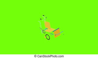 Post cart icon animation cartoon object on green screen background