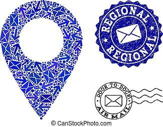 Post Communication Collage of Mosaic Local Map Marker and Grunge Stamps
