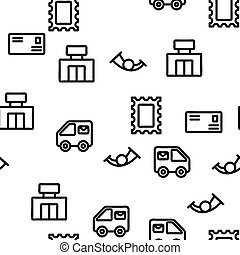 Post Company Vector Seamless Pattern