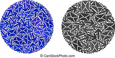 Post Delivery Mosaic Filled Circle Icons - Mail filled ...