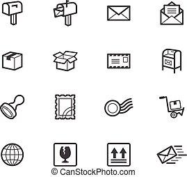 Post element vector black icon set on white background