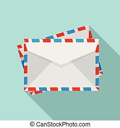 Post envelope icon, flat style