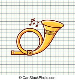 Post horn. Musical instrument. Baby toy.