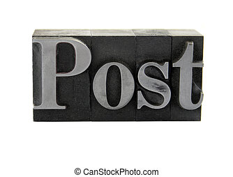 post, in, gammal, metall, typ