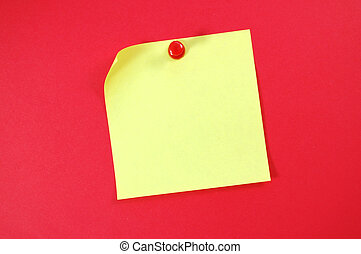 Post-it note - Blank post it note with a pushpin