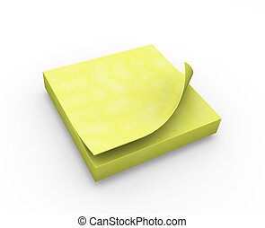 Post it note - 3D render of a post it note