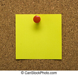 Post it note on cork - Blank post it note with tack and cork...