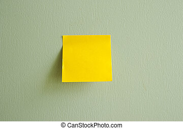 Post-It Note on green texture backg