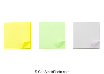 Post it note on white background