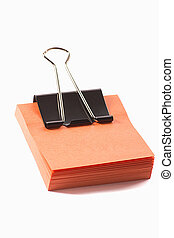 post-it note with clip on white background