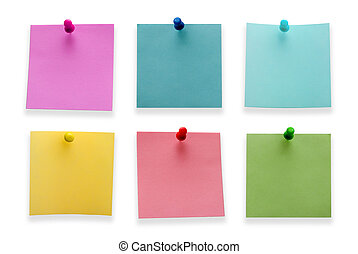 A different color post it notes with spins isolated on white background. Studio light.
